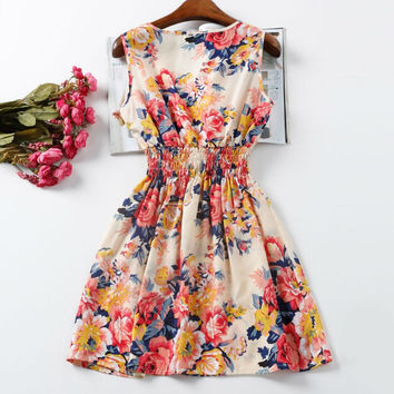 Chiffon Dress Sleeveless Sundress Beach Floral Tank Mini Dresses Vestido