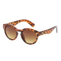 Brown Combo Retro Round Sunglasses by Charlotte Russe