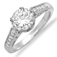10kt White Gold New Vintage Crown Victorian Diamond Engagement Ring