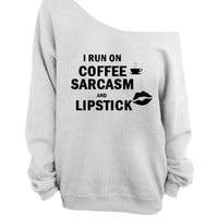 COFFEE SARCASM Lipstick off the  shoulder sweater, loose fit oversized   mizzombie grunge