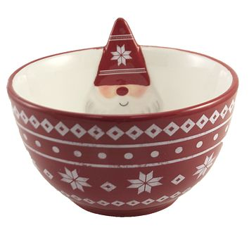 Tabletop Gnome Bowl Earthenware Holiday - MX177491