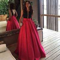Sexy Vestido De Festa 2017 Prom Dress Long V Neck Beaded Ball Gown Satin Evening Party Dress For Graduation