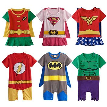 Baby Boys Girls Superhero Costume Romper Infant Cosplay Funny Jumpsuit Toddler Carnival Party Fancy Dressing Up Cos