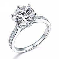 Lavish Fire 3CT Simulated White Sapphire Triple Pavé Trellis Cathedral Solitaire Solid Sterling Silver Ring for Woman Special Occasion Bridal Engagement