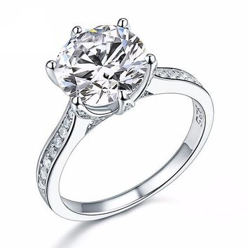 Lavish Fire 3CT Simulated White Sapphire Triple Pavé Trellis Solitaire Sterling Silver Ring For Woman