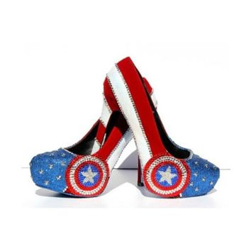 Captain America Heels with Swarovski Crystals