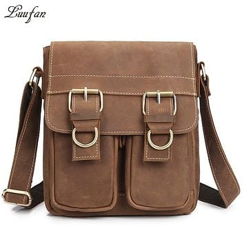 Men's genuine leather messenger bag iPad casual cross body bag crazy horse leather messenger bag for iPad Small travel bag