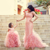 Adorable Fashion Cute Pearl Pink Ruffle Ball Gown Children's Flower Girl Dresses Baby Toddler Party Little Girls Pageant Dresses