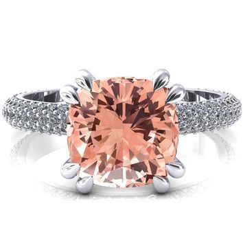Elley Cushion Champagne Sapphire 4 Claw Prong Diamond Accent Engagement Ring