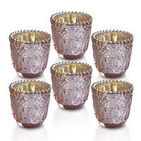 6 Pack | Faceted Vintage Mercury Glass Candle Holders (2.75-Inch, Lillian Design, Rose Gold Pink) - Use with Tea Lights - For Home Decor, Parties and Wedding Decorations