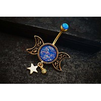 Double Moon and Star Blue Opal Gold Belly Button Ring