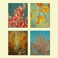 Fall Foliage Photo set of 4, Autumn Leaves photography, Home and Kitchen Decor
