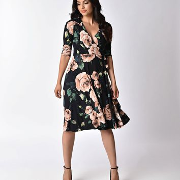 Unique Vintage 1940s Style Black & Light Pink Roses Print Kelsie Wrap Dress