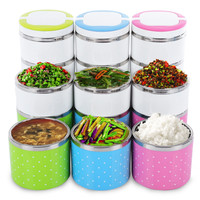 Dots Stainless Steel Lunch Box Insulation Bento Thermo Thermal Lunch Box Food Container Picnic Container