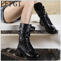 EFFGT 2017 Motorcycle Boots Ladies Vintage Combat Autumn Boots Army Punk Goth women boots Women Biker PU Leather Short Boots