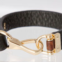 Black Leather Bracelet with Gold Buckle