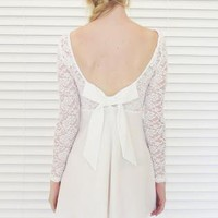 Dress Bow Back Lace Bustier in White