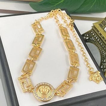 Versace Classic Fashion Women Personality Lock Pendant Necklace Jewelry Accessories