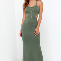 Forever and a Day Olive Green Maxi Dress