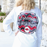 Arkansas Razorback Faded Chevron L/S Tee {White}