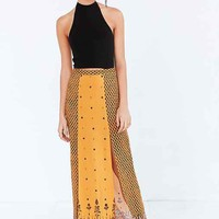 Ecote Mixed Print Split-Front Maxi Skirt