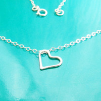 Sterling Silver Heart Necklace, Silver Heart Necklace, Gift for Her, Best Friend Necklace, Dainty Heart Necklace,Valentine's Day Gift