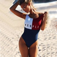 PEOPLE's Letter Printed One-Piece Swimsuit H8-4