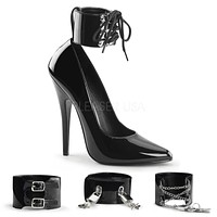 "Domina 434 Black 6"" High Heels 3 Interchangeable Ankle Cuffs"