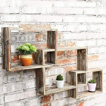 """3-Tiered Rustic Wooden Floating Wall Shelf Set, 32"""""""
