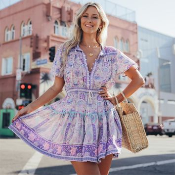 Lilac Floral Print Playdress V-Neck Short Sleeve Dresses Adjust Waist Casual Beach Mini Dress Boho Women Vestidos