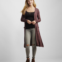 Heathered Button-Front Duster Cardigan