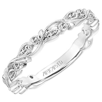 "Artcarved ""Florence"" Thin Antique Style Diamond Band Featuring Leaf and Scroll Details"