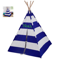 Personalized Child's TeePee, Tent, Wigwam, Play Fort, Great Gift for Birthdays and Christmas, Navy Stripe