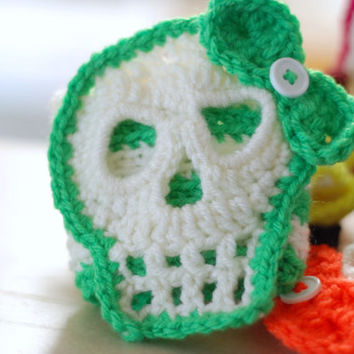 Crocheted Sugar Skull Striped Coffee Cup Cozy Travel Cup Sleeve with Bow Gift Ideas
