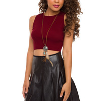 Mel Knit Crop Top - Burgundy
