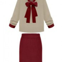 Wine Red Bow Collar Self-Tie Long Sleeve Sweater and Skirt Twinset