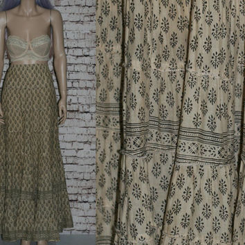 80s High Waist Maxi Skirt Beige Brown Tan Grunge Hipster Boho Ethnic Print Festival X Large L XL Broomstick Cotton India Tiered 12 14