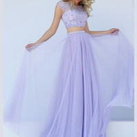 Cap Sleeved Crop Top Sherri Hill Formal Prom Gown 50038