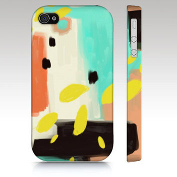 iPhone case, iphone 4, iphone 5, abstract art iphone case, painting, mint coral black, modern art, art for your phone