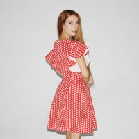 1960s Vintage Red Polka Dot Dress