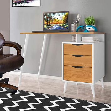 Wooden Computer Desk with Angled Legs, White & Brown By The Urban Port