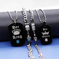 King And Queen Black Titanium Couple Necklace