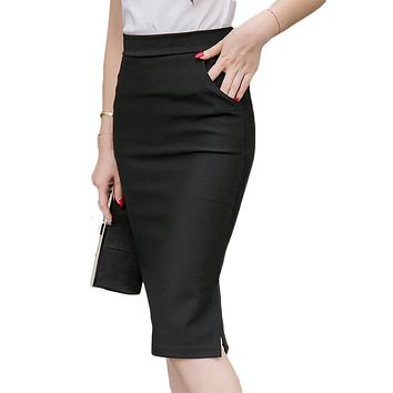 Autumn Spring Skirt Women Elastic High Waist Maxi Midi Skirts Long Formal Pencil Skirt