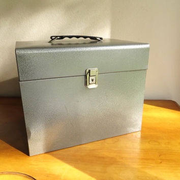 Vintage Metal File Box, Dark Gray Storage Box, Grey Bill Filing Container, Industrial, with Handle, Large