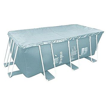 By PoolCentral 12.6 inch  Durable Apertured Rectangular Gray Pool Cover with Rope Ties
