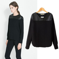 Patchwork Long Sleeve Shirt Tops T-shirts Bottoming Shirt [5013347076]