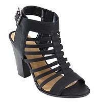 Women's open Caged Strappy Ankle Strap Stacked Mid Chunk Heel Sandals Shoes