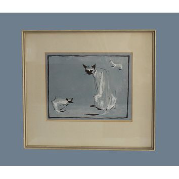Mid Century Modern Watercolor Painting Siamese Cats Framed Matted Signed EXCELLENT MCM Decor