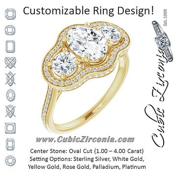 Cubic Zirconia Engagement Ring- The Iekika (Customizable 3-stone Oval Cut Design with Multi-Halo Enhancement and 150+-stone Pavé Band)