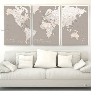 Custom quote - Highly detailed world map printable with cities, Large world map, 3 panels poster, earth tones. Gift for him - Map151 011